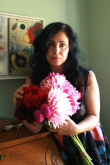 Artist Photo Marie Cameron with Shame Silece and Oblivion and Dahlias