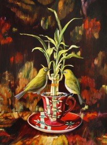 Bamboo Tea I - oil on board - 16 x12 inches - Marie Cameron 2015