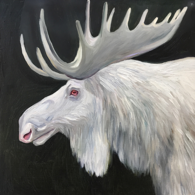 Fade to White - Moose - oil and encaustic on panel - 6x6 in - Marie Cameron- 2017