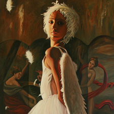 Feathers - Marie Cameron - oil on canvas - 60x36in - 2013 sm