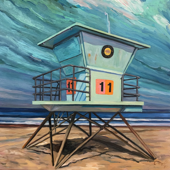 Lifeguard Tower 11 - Marie Cameron - oil on cradled panel, 6x6in - 2019- web