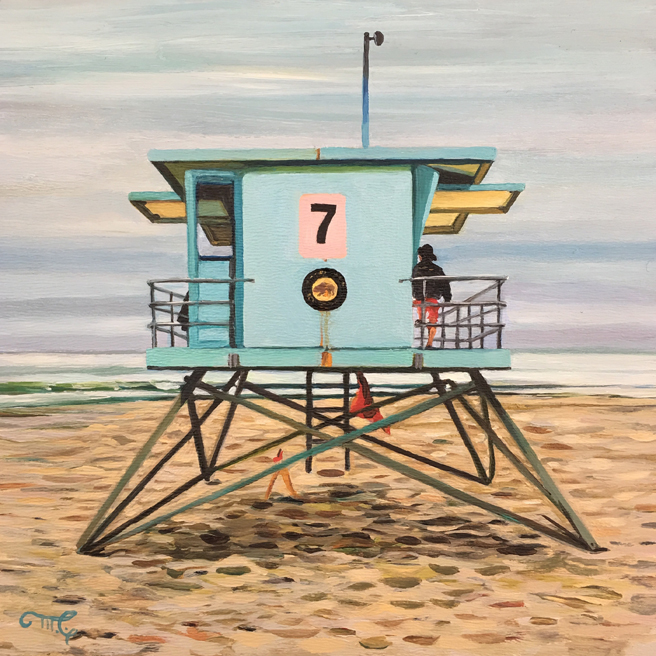 Lifeguard Tower 7 - Marie Cameron - oil on cradeled panel, 6x6in - 2019- web