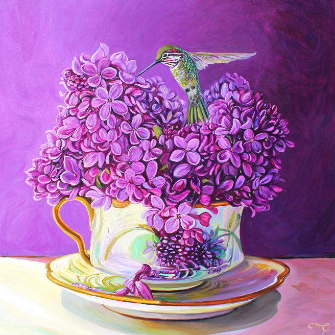 Lilac Tea I - Marie Cameron - OIl on Board - 2016 12 x 12 inches web