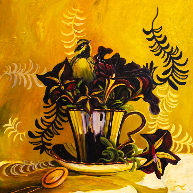 Petunia Tea II - 12 x 12 inches - oil on board - Marie Cameron 2016 web