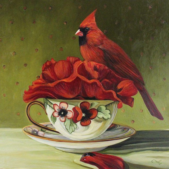 Poppy Tea I - oil on panel - 12x12in- Marie Cameron-2017 web