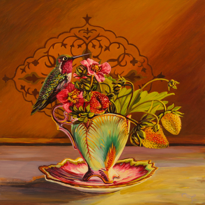 Strawberry Tea I - Maire Cameron - Oil on Board, 12 x12 in 2015