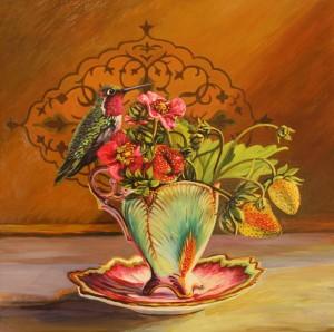 Strawberry Tea I -oil on board - 12x12 inches -  Marie Cameron  2015