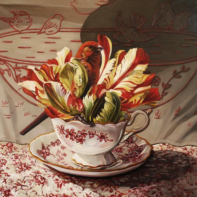 Tulip Tea I - oil on board - 12 x 12 inches - Marie Cameron 2015 web
