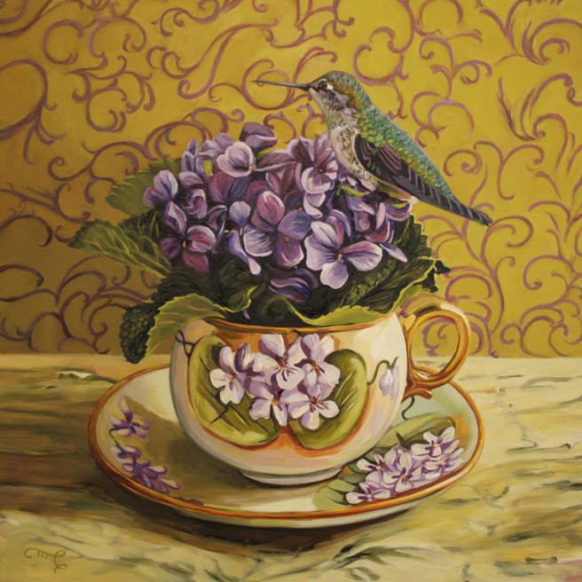 Violet Tea I - oil on board - 12x12 inches - Marie Cameron 2016