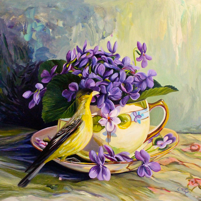 Violet Tea II - oil on panel - 12x12in -Marie Cameron - 2017 web