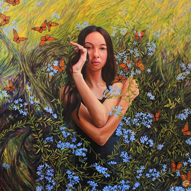 Zoë in the Garden - oil on canvas - 36 x 36 - Marie Cameron 2019 web