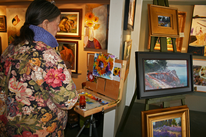 Diana Leone at the easel 2012