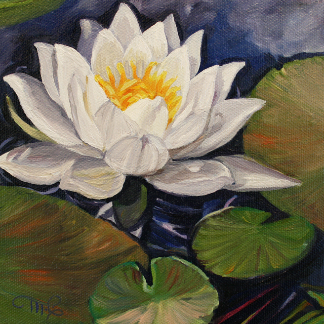 Marie Cameron Desert Lake Pond Lily II 2012 oil on canvas 6x6 commission