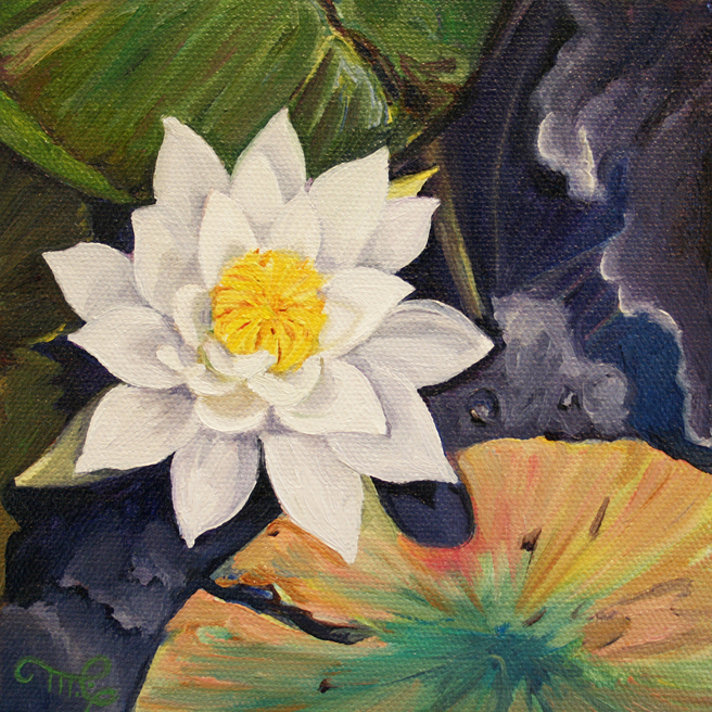 Marie Cameron Desert Lake Pond Lily III 2012 oil on canvas 6x6 commission