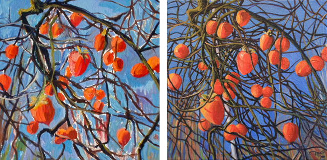 Marie Cameron plein air persimmon painting pre & post studio 2012