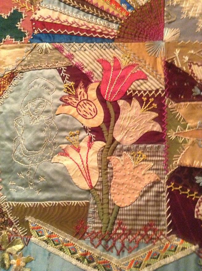 Elizabeth Parkhurst Williams Crazy Quilt (1884-90) Bellflowers