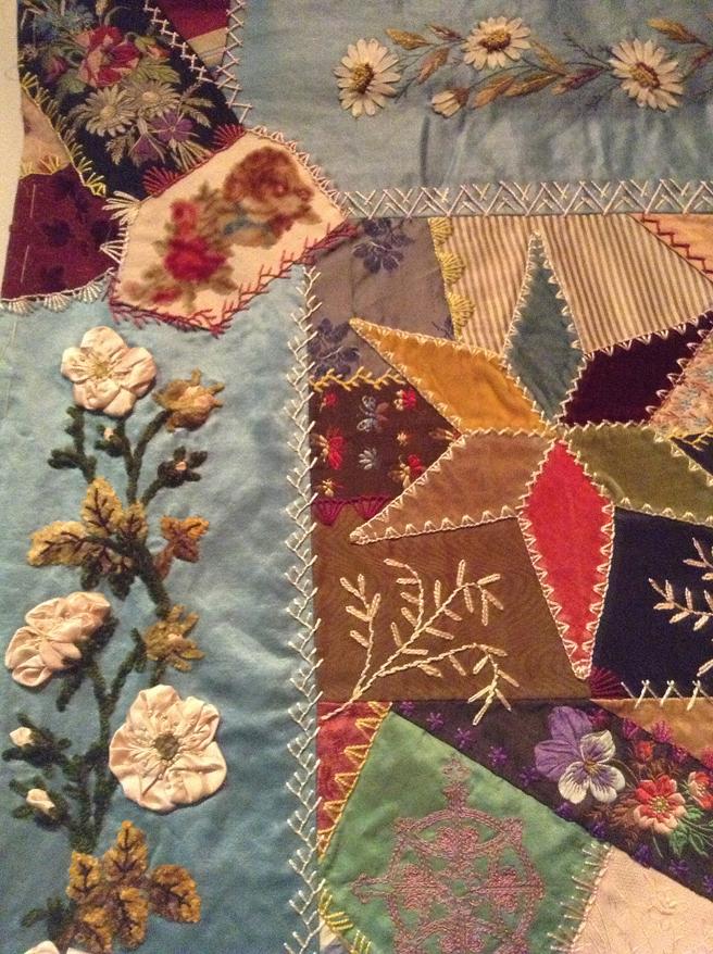 Elizabeth Parkhurst Williams Crazy Quilt (1884-90) Ribbon Roses and Daisies