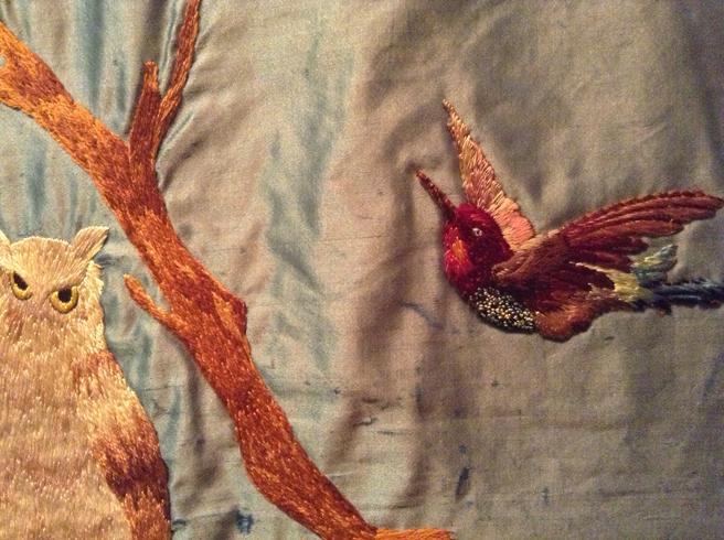 Elizabth Parkhurst Williams Crazy Quilt 1884-90 owl and bird