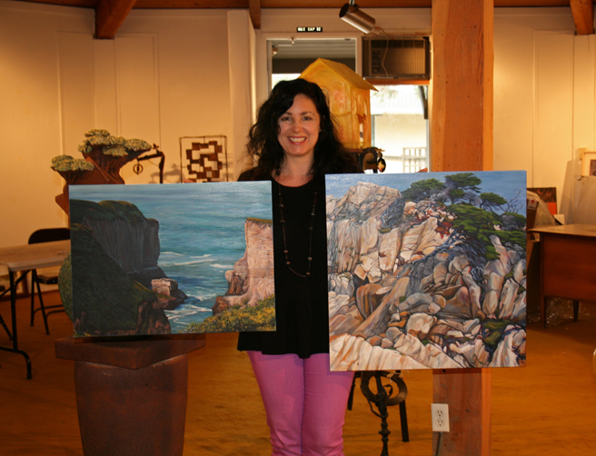 Marie Cameron dropping paintings at the Rose Shenson Gallery 2013