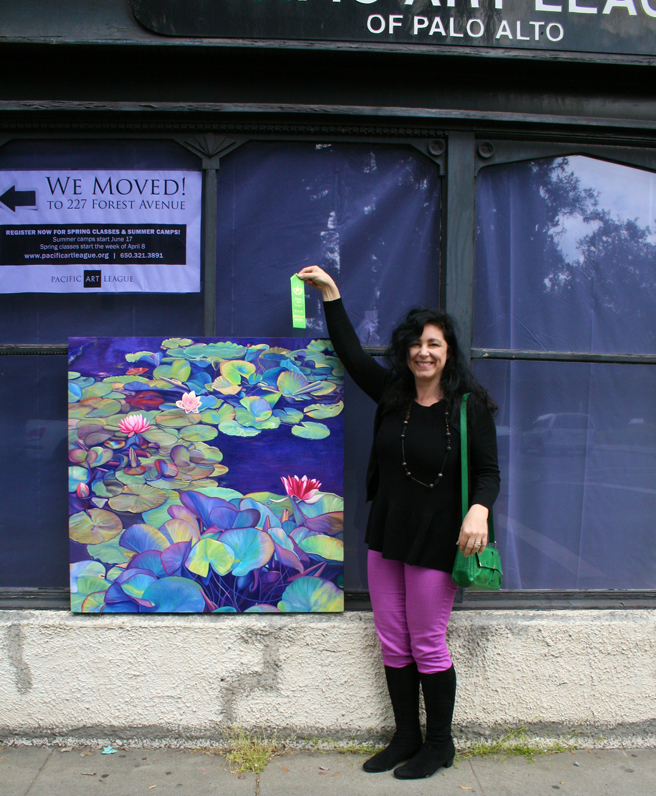 Marie Cameron holding ribbon for Pond Lily Path at PAL 2013