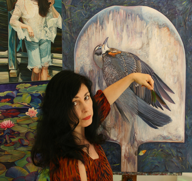 End of Spring Marie Cameron with feathers 2013