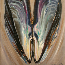 Mussel Shell Open by Marie Cameron 2013 oil on canvas 7 x 5 in sm
