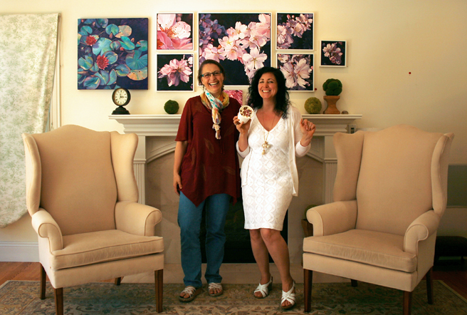 Marie Hetherington and Marie Cameron and art ice cream.