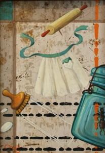 """Odessa's Kitchen Floor '50s by Marie Cameron 2000 oil on linoleum 7"""" x 5"""""""