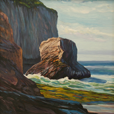 Sea Stack, Davenport by Marie Cameron oil on canvas 11.5x11.5in sm