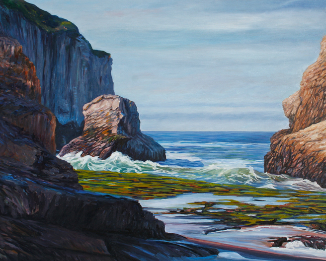 "Shark Fin Cove by Marie Cameron oi on canvas 16"" x 20"""
