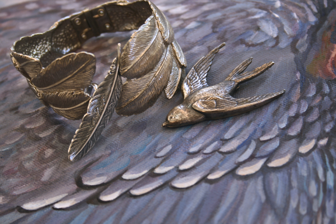 Feather Charms, vintage and vintage inspired jewelry.