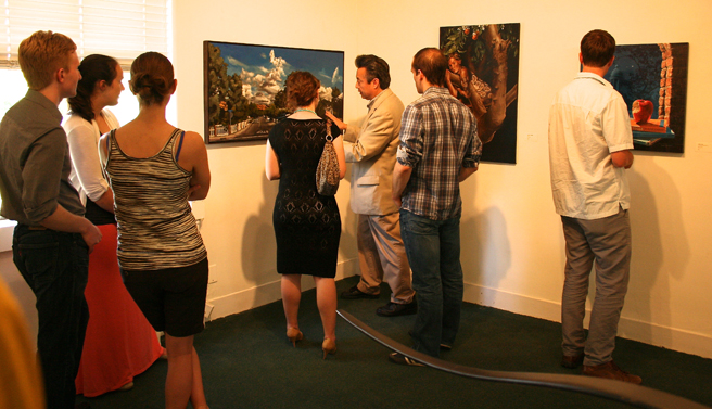 George Rivera talks with Kate Marsh about her oil painting Berryessa, CA #1