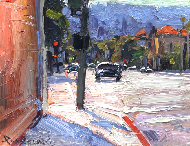 Los Gatos Plein Air 2013 Anton Pavlenko's Waiting to Cross