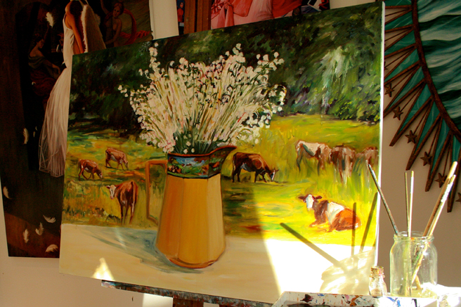 Lily of the Valley and Cows - Marie Cameron change of light on pitcher 2013