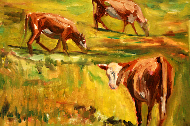 Lily of the Valley and Cows - Marie Cameron detail of cows 2013