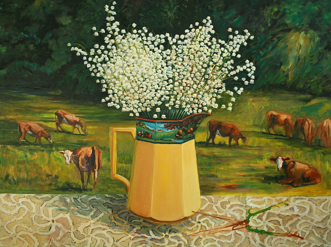 Lily of the Valley with Cows - 6 lace and shears Marie Cameron 2013