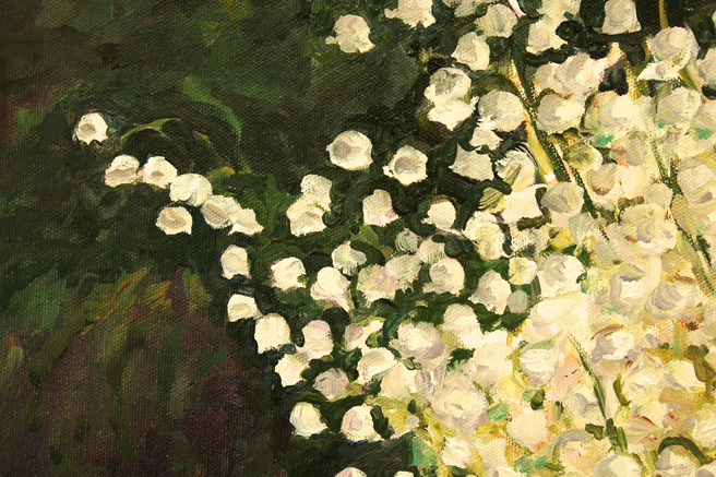 Lily of the Valley with Cows - detail flowers on green Marie Cameron 2013