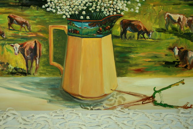 Lily of the Valley with Cows - shears and lace Marie Cameron 2013