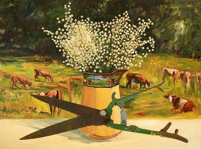 Lily of the Valley with Cows with shears photoshop Marie Cameron 2013