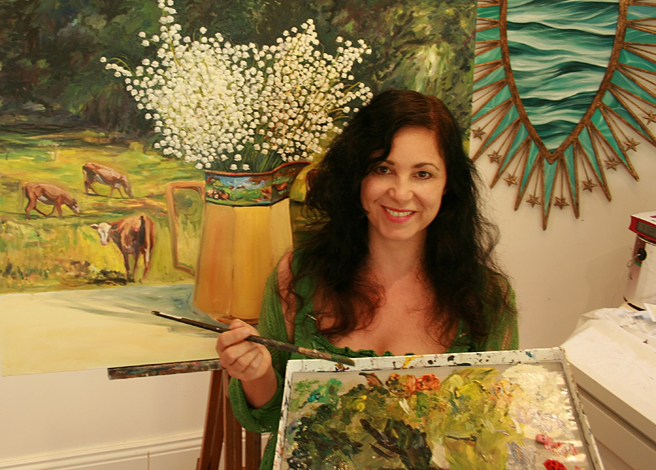 Marie Cameron painting Lily of the Valley with Cows 2013 web