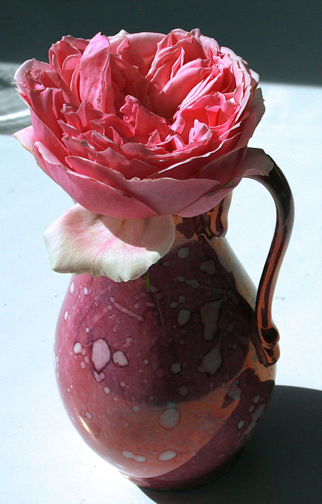 Pink Rose and Splatter Lusterware - pitcher  Marie Cameron 2013