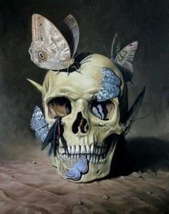 Blue Moths and Skull -http-::30.media.tumblr.com:tumblr_lxlmenPXoM1qlnuyno1_500