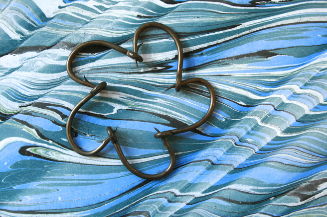 Daisy Chain Eagle Claw Tuna Hooks on Marbelized Paper 1 - Marie Cameron 2013