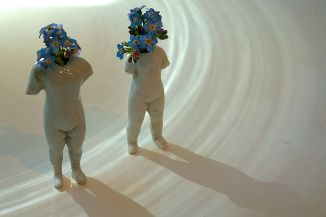 Frozen Charlotte Flora - Remembering 1 and 2 - porcelain and forget-me-nots Marie Cameron 2013