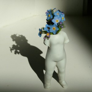 Frozen Charlotte Flora - Remembering 1 - forget-me-nots and porcelain Marie Cameron 2013 square