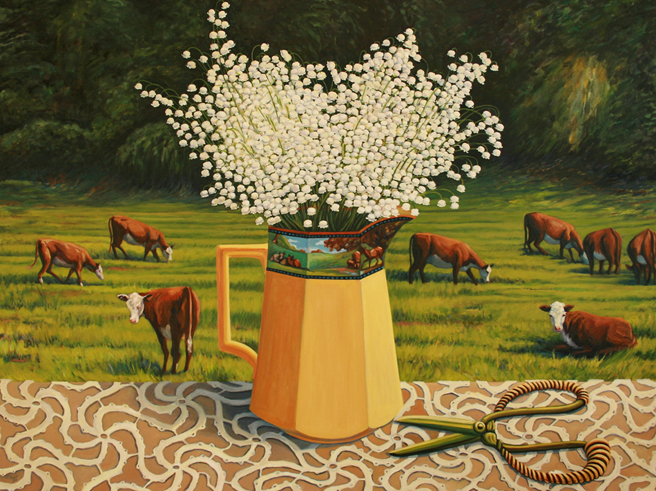 Lily of the Valley with Cows - Marie Cameron - oil 30 x 40 inches 2013