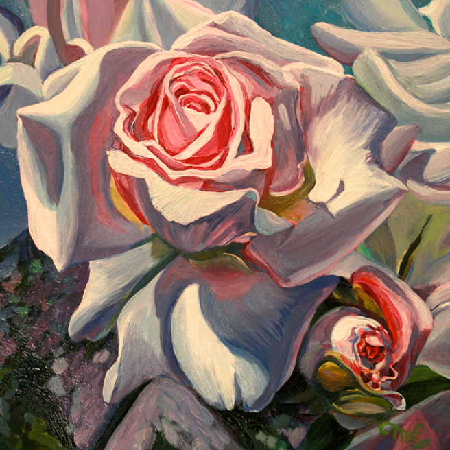 Hybrid Tea Rose I oil on board 6x6 in by Marie Cameron 2013