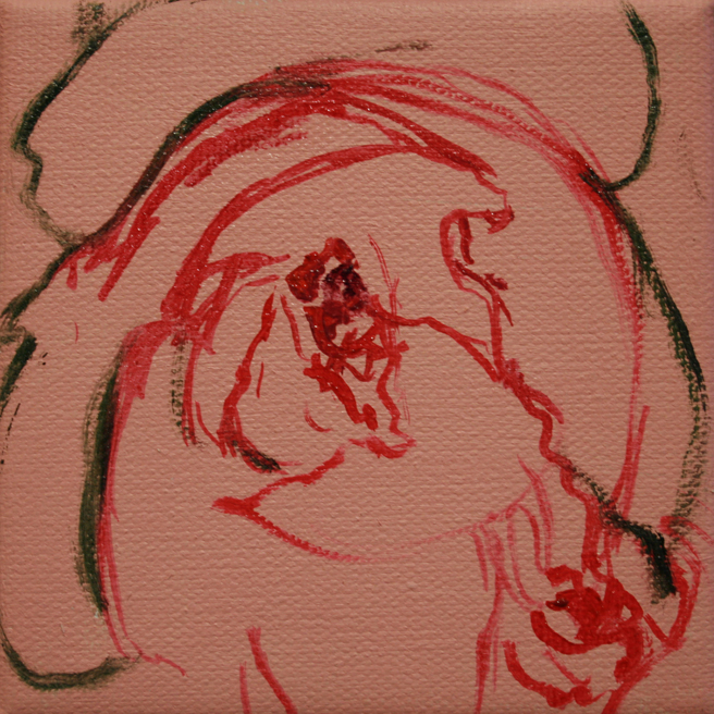 Painting Rosebud I Marie Cameron oil on canvas 4x4in 2013 1