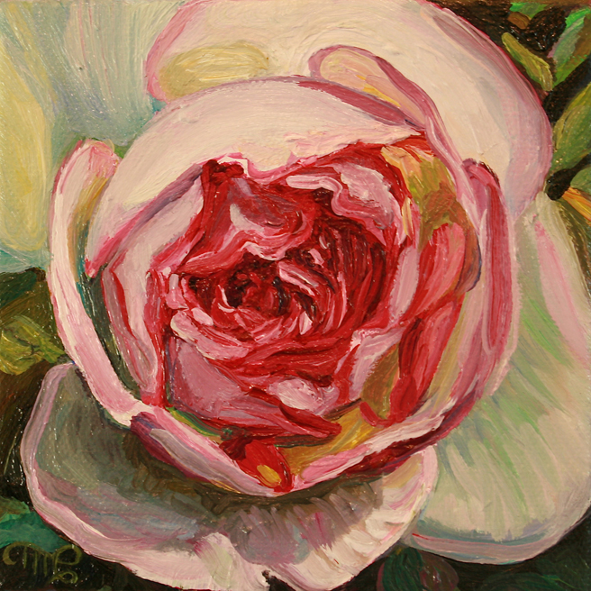 Rose Petals IV - Marie Cameron - oil on canvas - 5x5in 2013