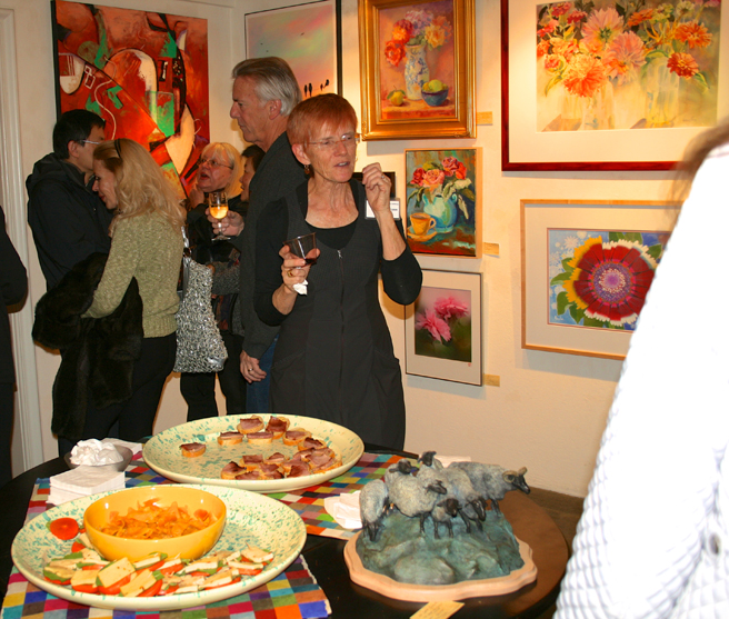 LGMG HR Artist Veronica Gross and her watercolor in the upper right - photo Marie Cameron 2013